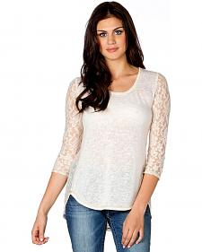 Miss Me 3/4 Sleeve Lace Back Top