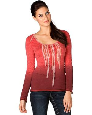 Miss Me Long Sleeve Dip-Dye Fringe Top