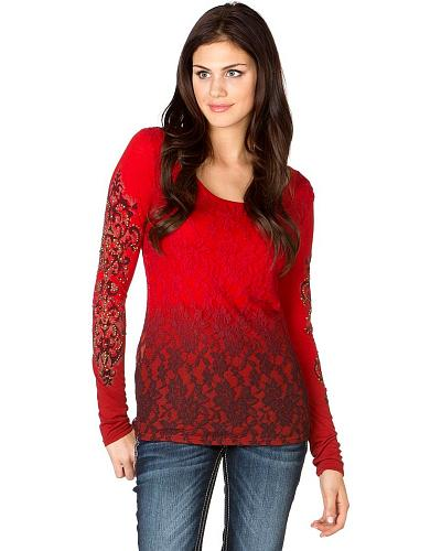 Miss Me Red Dip Dye Glitter Embellished Lace Top