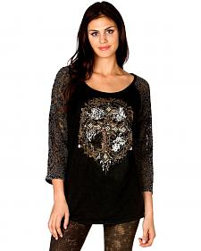 Miss Me Embellished Cross Lace Sleeve Top