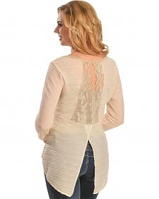 Petrol Glittery Sheer Lace Back Top