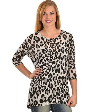 Moa Moa Animal Print High-Low Knit Tunic