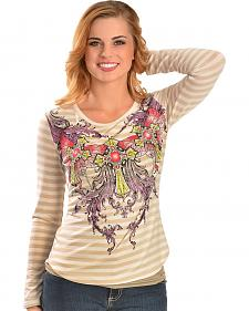 Cowgirls & Diamonds Striped Lace Back Screen Print Tee