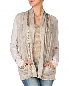 Miss Me Sequin Trim Taupe Cardigan