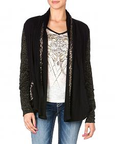 Miss Me Sequin Trim Black Open Cardigan