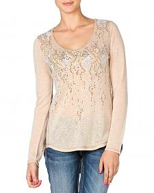 Miss Me Contrasting Embellished Pullover Top