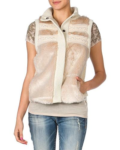 Miss Me Beaded Faux Fur Knit Vest