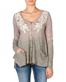 Miss Me Lace Applique Dip Dye Cardigan