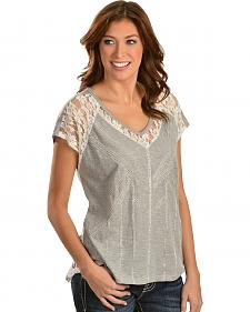 Miss Me Gray Lace Insets and Back Top