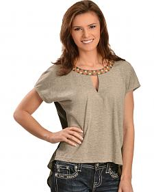 Miss Me High-Low Aztec Collar Top