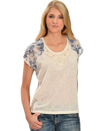 Miss Me Juniors Abstract Floral Top