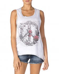 Miss Me Women's Vintage Gray with Rose Wreath Peace Sign Tank