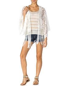 Miss Me White Crochet Fringe Kimono
