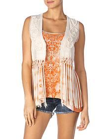 Miss Me Eyelet Lace & Fringe Vest
