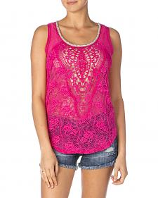 Miss Me Hot Pink Lace Sleeveless Shirt