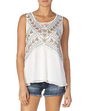 Miss Me Embroidered Lace-Back Tank
