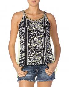 Miss Me Black Paisley Sleeveless Top