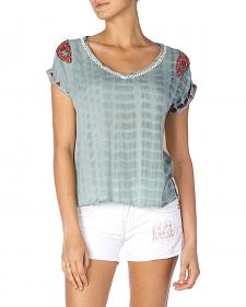 Miss Me Tie-Dye Embroidered Top