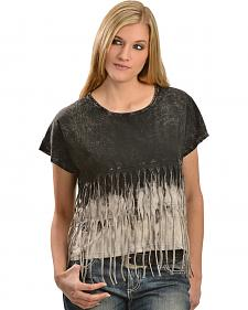 Petrol Feelin' Fringy Short Sleeve Top