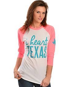 """ATX Mafia """"I Heart Texas"""" Baseball Tee"""