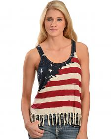 Others Follow American Flag Fringe Tank Top