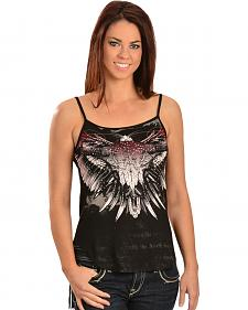 Cowgirls & Diamonds Women's Longhorn Skull Fringe Tank Top