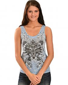 Cowgirls & Diamonds Women's Blue Cross Crochet Tank Top