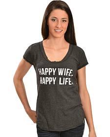 """ATX Mafia Gray """"Happy Wife, Happy Life"""" Tee"""