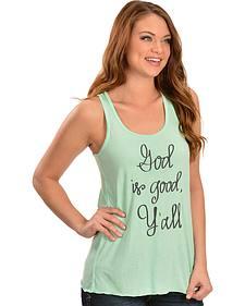 """ATX Mafia Women's Mint Green """"God is Good, Y'all"""" Tank"""