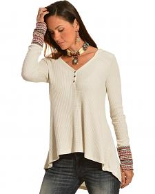 Others Follow Medley Cream Contrasting Cuff Long Sleeve Hooded T-Shirt
