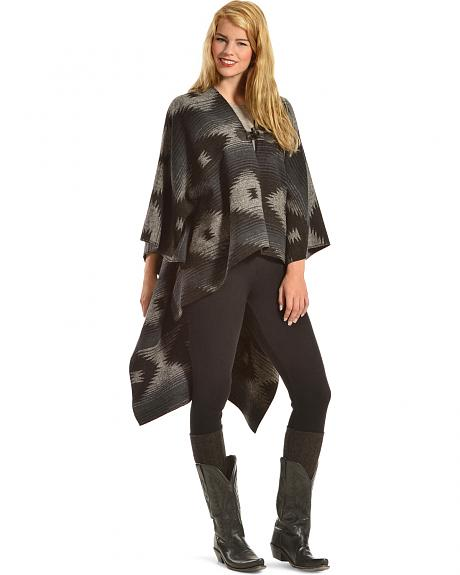 Others Follow Women's Wild Winds Black Print Poncho