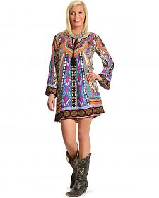 Flying Tomato Women's Bold Print Long Sleeve Tunic