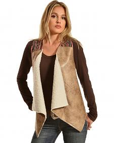Flying Tomato Women's Fur & Leather Vest