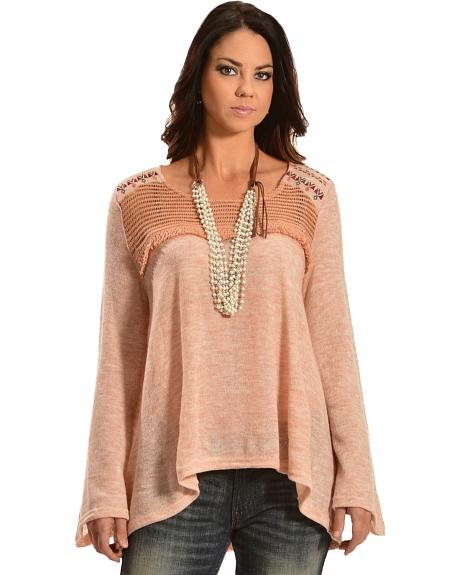 Flying Tomato Women's Bell Sleeve Knit Top