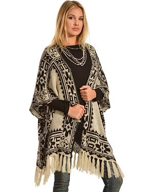 Flying Tomato Aztec Fringe Cardigan