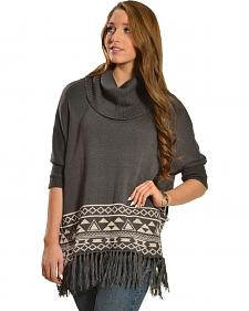 Derek Heart Charcoal Aztec Fringe Border Poncho Sweater