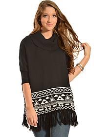 Derek Heart Women's Aztec Fringe Poncho Sweater