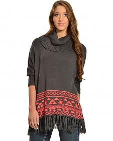 Derek Heart Charcoal and Coral Aztec Fringe Border Poncho Sweater