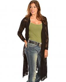 Petrol Women's Sheer Knee-Length Cardigan
