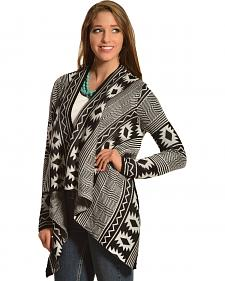 Petrol Women's Black & White Aztec Cardigan