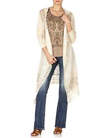 Miss Me Women's Hooded Lace Maxi Cardigan