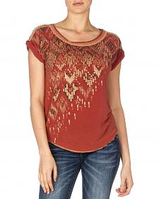 Miss Me Women's Lace Back Sequin Top