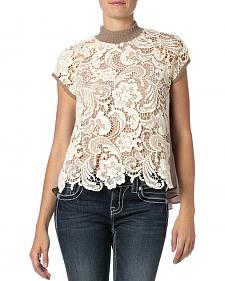 Miss Me Lace Front Pleated Back Top