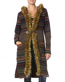 MIss Me Striped Fur-Trim Hooded Cardigan
