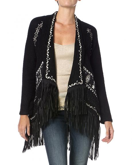 Miss Me Black and White Embroidered Fringe Cardigan