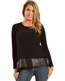 Petrol Women's Black Leather Trim Long Sleeve Top