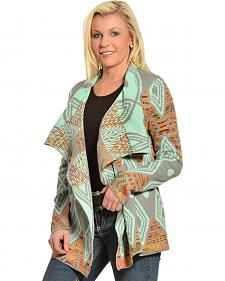 Petrol Women's Pattern Shawl Cardigan
