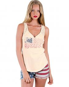 Others Follow Women's In America Split Neck Tank Top