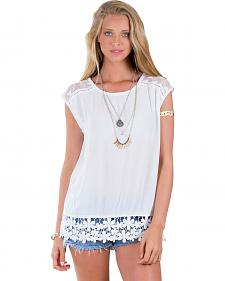 Others Follow Lessian White Lace Hem Top