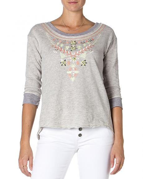 Miss Me Embroidered Grey 3/4 Sleeve Top
